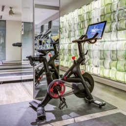 Fitness center with cardio machines, free weights, flat screen tvs and peloton bikes at tellus luxury Arlington apartments