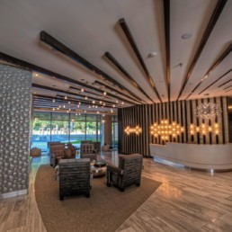 lobby with concierge desk, social seating, modern lighting and large windows - luxury apartments in arlington va