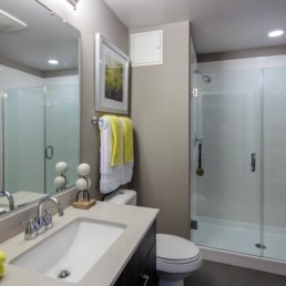 bathroom with walk in shower, toilet, large mirror, towels, designer features and recycled porcelain countertops - luxury apartments near court house metro