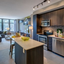 kitchen with island, tile back splash, tile flooring, stainless steel appliances, recycled porcelain countertops, and view of living area with couch, coffee table, large windows and modern artwork - luxury apartments in arlington va