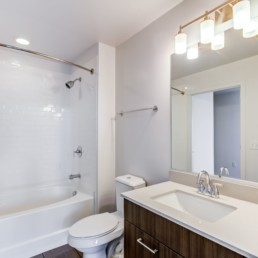 Bathroom with toilet, bathtub, large mirror and recycled porcelain vanity at Tellus Arlington luxury apartments